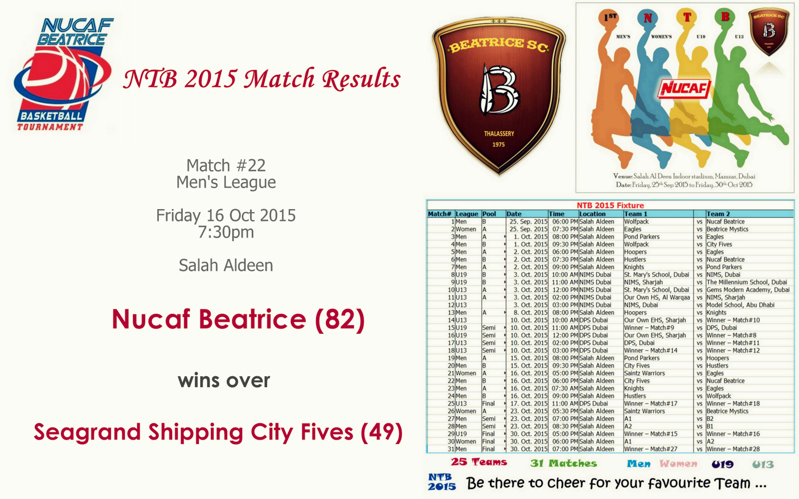 NTB 2015 – Match #22 | Seagrand Shipping City Fives (49) Vs Nucaf Beatrice (82)