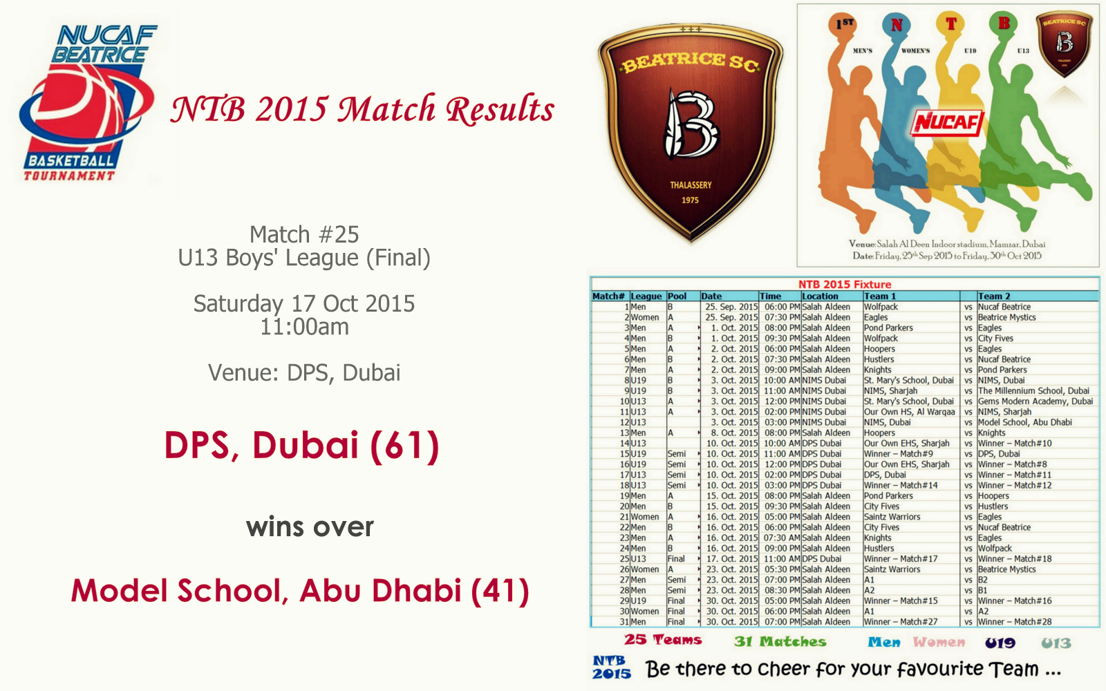NTB 2015 – Match #25 (U13 Final) | DPS, Dubai (61) Vs Model School, Abu Dhabi (41)